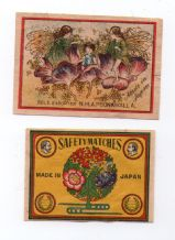 OLD match box labels CHINA or JAPAN Fairies on flowers #202